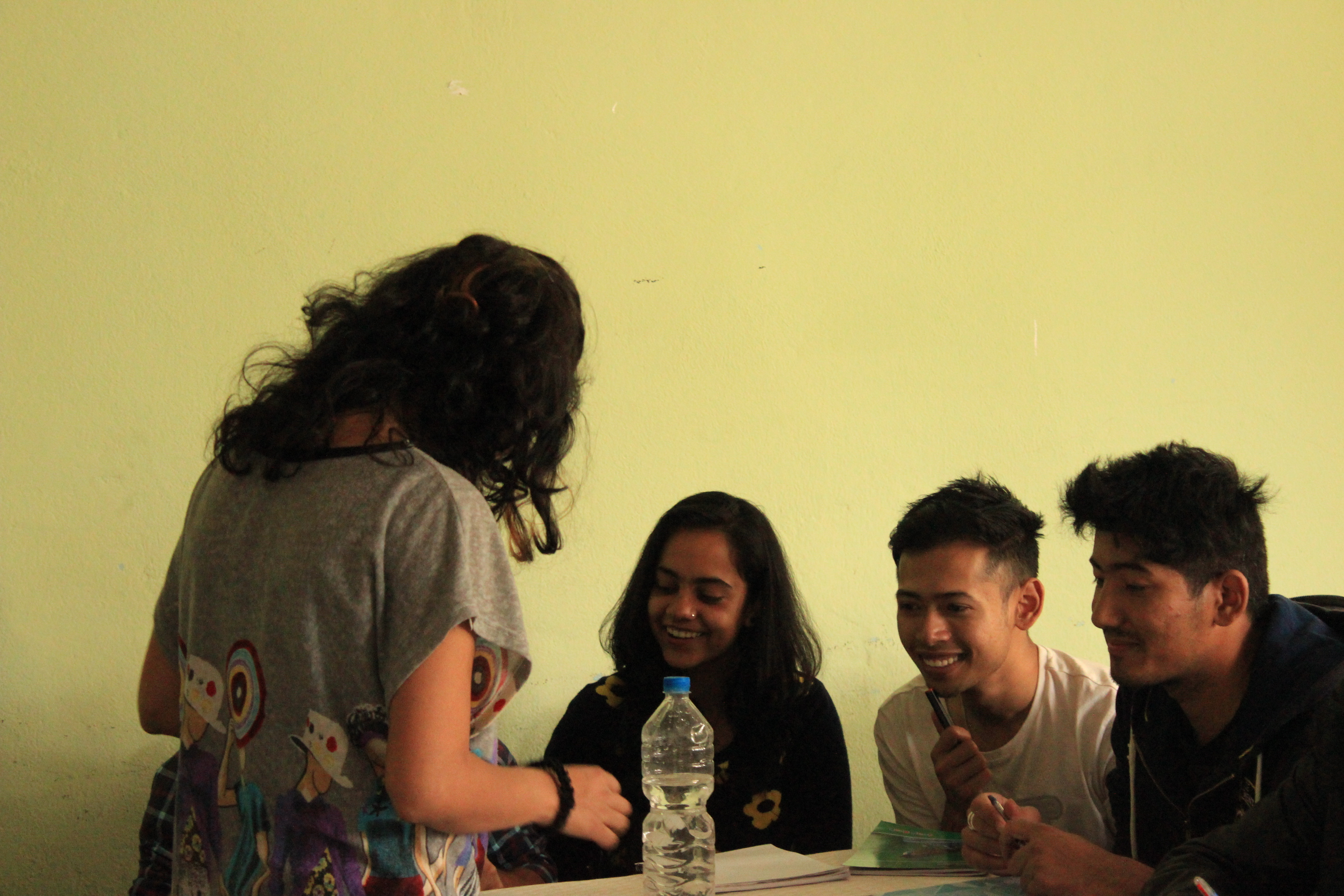 Ujjwala talks to Santwana, Sasit and Nischal - some of our older participants in the intensive workshops in Kavre.